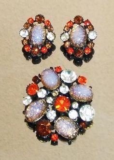 1282-Vtg-Sgnd-Claudette-Japanned-Metal-Rhinestone-Foil-Glass-Demi-Brooch-Earring