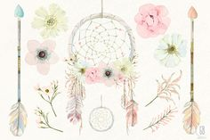 Watercolor floral dreamcatcher boho - Illustrations - 2