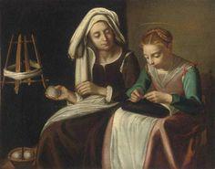 Sant'Anna e la Madonna - Sainte Anne et la vierge Marie. Huile sur toile de Giovanni Antonio GALLI dit Lo SPADARINO (italien 1585 - 1653) Gallerie Spada a Rome.