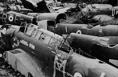 The defeat of the RAF's bombers in daylight over the battlefields of Belgium and northern France is graphically shown by these shot-down RAF Bristol Blenheim and Fairey Battle bombers, awaiting scrapping.  When the RAF failed to take down the German bridges over the Meuse on 14 May 1940, defended by Bf 109s, there was no way to stop the German advance until it reached Dunkirk.