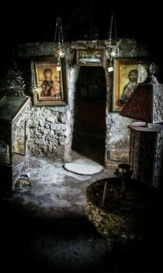 Sacred moments ~ Chapel of St. Dimitrios in the village of Skoutari Lakonia Christ The King, Church Interior, Orthodox Christianity, World Religions, Jesus Pictures, Orthodox Icons, Sacred Art, Christian Art, Ancient Greece