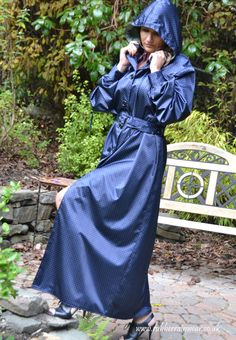 Caroline wears her beautiful hooded and patterned blue rubberized satin mackintosh. Rubber Raincoats, Blue Raincoat, Hooded Cloak, Raincoats For Women, Fashion Project, Future Fashion, Rain Wear, Preppy Style, Rain Cape