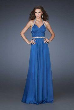La Femme 18476 Halter Neckline Sequin Sapphire Blue Prom Dresses