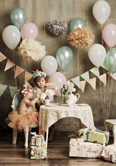 Gorgeous tea party set up. Would work with baby girl and teddy bears or two little sisters!