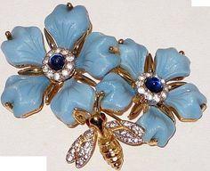 Mazer - Jomaz - Bijoux Vintage - Broche 'Abeille sur Fleurs'