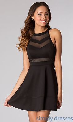Shop little black dresses with sheer illusion high neck sleeveless bodices by Emerald Sundae at SimplyDresses. Black prom dresses for cocktail parties.