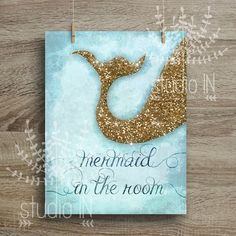 MERMAID in the room - Glittery mermaid tail Glitter gold/blue colour Printable Nursery Room, Girl Nursery, Girls Bedroom, Nursery Decor, Sea Nursery, Nursery Ideas, Bedroom Ideas, Room Decor, Glitter Room