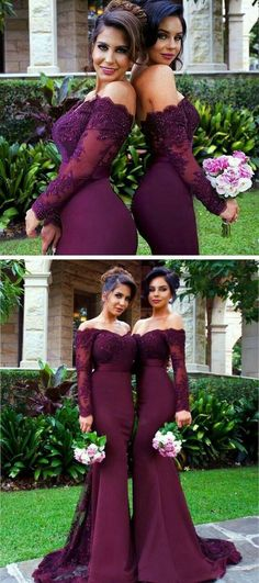 Sexy Mermaid Long Sleeve Lace Long Bridesmaid Dress with Small Train Burgundy Bridesmaid Dresses The short bridesmaid dresses are fully lined 4 bones in the bodice chest pad in the bust lace up back or zipper back are all available total 126 c Bridesmaid Dresses With Sleeves, Mermaid Bridesmaid Dresses, Lace Bridesmaids, Mermaid Dresses, Lace Dresses, Lace Mermaid, Mermaid Style, Party Dresses, Wedding Inspiration