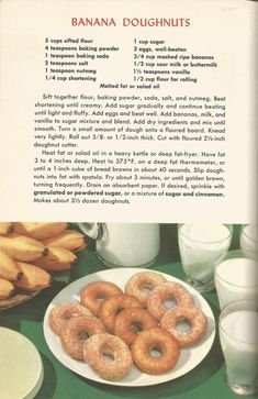 Vintage Recipes: Breads, Doughnuts and Muffins Retro Recipes, Old Recipes, Donut Recipes, Vintage Recipes, Cookbook Recipes, Cooking Recipes, 1950s Recipes, Blender Recipes, Family Recipes