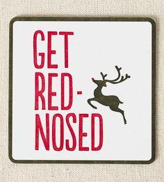 Red Nosed Reindeer Letterpress Coasters, 12-Pack