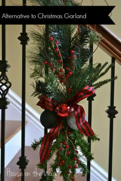 Christmas Staircase Decor!!! Bebe'!!! Love this alternative to a garland for a staircase!!!