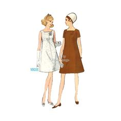 60s Aline Dress Pattern Vogue 7327 Easy Sewing One Piece Short Sleeve or Sleeveless A Line Dress Bust 36, Uncut