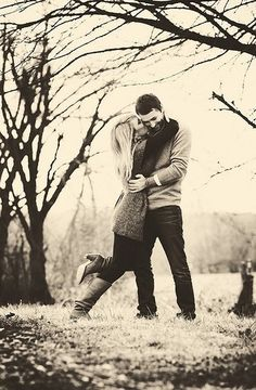 Take a picture every season the first year of your marriage and hang in a four square frame.