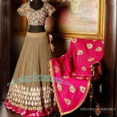 Enticing Tan Hot Pink Shymal And Bhumika Silk Bridal Lehenga, shop at andaazcollectionscanada