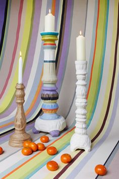 Recycled cardboard candlesticks - to paint, customise or leave natural. Painted Candlesticks, Candlestick Lamps, Recycling, Candle Holders, Projects, Window Shopping, Painting, Dining Room, Natural