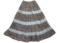 Maxi Skirt - Hippie Boho Gypsy Skirts White Brown Floral Tiered Long Skirt Mogul Interior,http://www.amazon.com/dp/B00BLINJ4E/ref=cm_sw_r_pi_dp_-Tulrb1RAG49JD9A