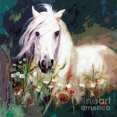 Horse painting reproduction. Acrylic painting digitally enhanced.