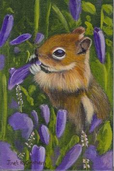 """Chipmunk Amongst the Flowers"" - Original Fine Art for Sale - © Janet Graham"