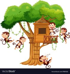 Monkeys playing at the treehouse vector image on VectorStock Chalk Photography, School Binder Covers, Avengers Coloring Pages, Baby Animal Drawings, Monkey And Banana, Kids Room Murals, School Painting, Autumn Forest, Spring Art