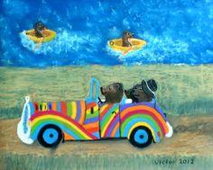 Björnar åker taxi, pastell på papper. Bears go by taxi, pastel on paper.