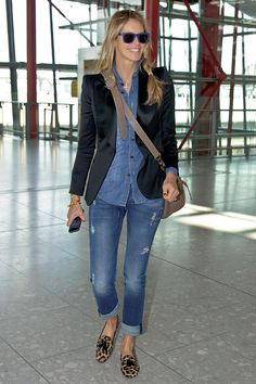 Elle Macpherson. Denim, navy and animal print.