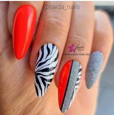 Zebra Nails, Blue Nails, Red Lipstick Makeup, Red Lipsticks, Black Nail Designs, Nail Art Designs, Black Smokey Eye Makeup, Animal Nail Art, Stylish Nails