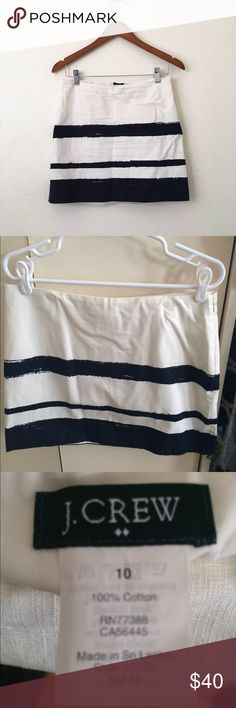 J. Crew Navy and White paint pattern skirt J. Crew, size 10. Dark navy and white striped a line mini skirt, in excellent condition. No tears, rips, or stains. Hits mid thigh, can be dressed up or down! J. Crew Skirts Mini