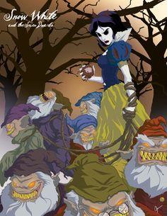 Artists Jeffrey Thomas reinterprets Disney Princesses in a scarier context. Snow White and the Seven Dwarfs.