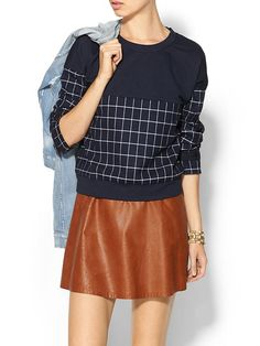 Womens Cropped Windowpane Sweater