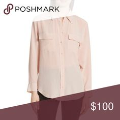 """Equipment Femme Slim Signature Blush Pink Blouse Deep, shimmering color further refines a supersoft crêpe-de-Chine shirt with a raised placket, point collar and flap chest pockets. 28"""" length (size Medium). Front button closure. Adjustable-button cuffs. Back box pleat. Semi-sheer; base layer recommended. 100% silk. Dry clean. By Equipment; imported. Individualist. Item #905299 Equipment Tops Blouses"""