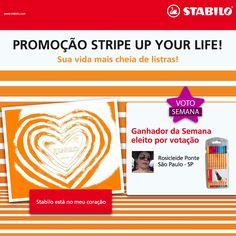 E a mais VOTADA desta semana na promoção Stripe Up Your Life foi a Rosicleide Pontes, de São Paulo (SP). Parabéns, Rosi. Você acaba de ganhar um estojo recheado de STABILO!