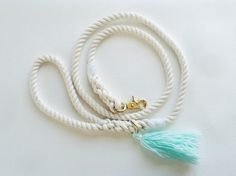 Hand Spliced Cotton Rope Leash with Tassel by NativeHound on Etsy