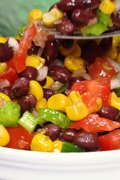 Black Bean and Corn Salad is a colorful & flavorful salad. Perfect & easy for potlucks parties lunches and anytime! Only 15 minutes. Watch the colorful video! Best Salad Recipes, Corn Recipes, Side Dish Recipes, Mexican Food Recipes, Vegetarian Recipes, Cooking Recipes, Healthy Recipes, Healthy Salads, Black Bean Salad Recipe