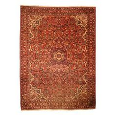 Antique 1960's Persian Hand-knotted Tribal Bakhtiari Red/ Navy Wool Rug (9' x 12'1)