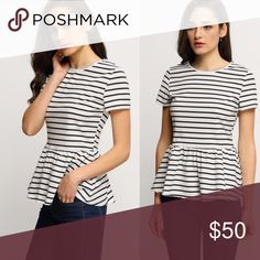 "Striped Peplum Top NO TRADES FIRM PRICE BUNDLES SAVE 10%  || Striped peplum top || Cap sleeves || Runs big  Approximate flat measurements:  Small 17"" bust 25"" length 14"" waist  - Boutique items are still in bag from manufacturer & stock photos are exact item - Tops"