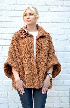 """Купить Жакет оверсайз вязаный,крупная вязка """"Карамель"""" - кардиган, модная одежда, оверсайз"""