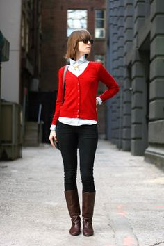 Red sweater + brown boots