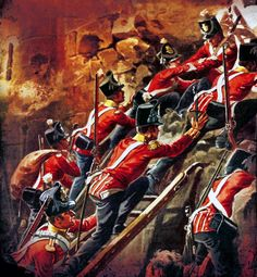British infantry assaulting the French fortress of Badajoz, Peninsular War