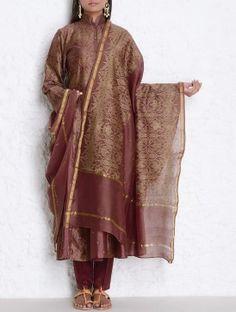 Maroon Khari Block Printed & Sequin Detailed Chanderi Dupatta