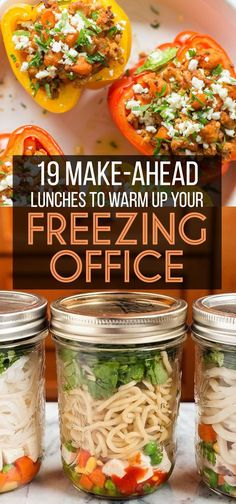 19 Easy Hot Lunch Ideas That Will Warm Up Your Freezing Office - 19 Make-Ahead Lunches That Will Warm Up Your Freezing Office - Lunch Snacks, Lunch Recipes, Healthy Snacks, Healthy Eating, Cooking Recipes, Healthy Recipes, Healthy Meals To Freeze, Lunch Box, Jar Recipes