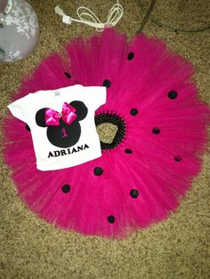 Minnie Mouse Inspired Hot pink and black - Custom Birthday top and Tutu Skirt Set - mini mouse baby -minne mouse dress