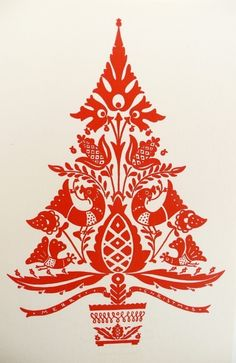 loving this xmas design. may have to try for our cards xoxo Six Vintage Christmas Cards/Hungarian Folk Art. $18.00, via Etsy.