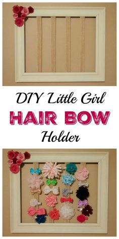 Look at this super simple, and very adorable, DIY hair bow holder. It's a great way to organize, and display, all your daughter's hair bows. Diy Hair Bow Holder, Diy Hair Bows, Diy Bow, Bow Holders, Organizing Hair Accessories, Girls Hair Accessories, Baby Girl Bows, Girls Bows, Diy Simple
