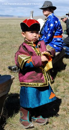 Mongolian boy dressed in national costume, Mongolia festivals.