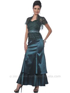 Teal Green Lace Top Evening Dress with Bolero. Style #: M1008. Get yours today at www.SungBoutiqueLA.com