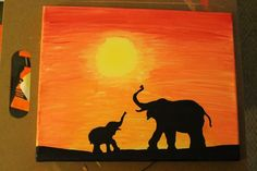 Elephant Family at Sunset: African Safari by ArtbyHannahBonacci: