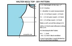 Sew an ultra glamorous halter neck top or gown after making this pattern with your own measurements ; This will also make a very summery tunic. Diy Halter Top, Halter Neck, T Shirt Reconstruction, Bodice Pattern, Neck Pattern, Pattern Drafting, Sewing Patterns, Clothes Patterns, Sewing Tips
