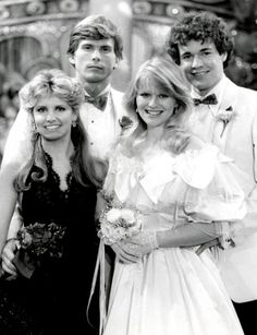 The Four Musketeers -Judi Evans (Beth Raines), Grant Aleksander (Phillip Spaulding), Krista Tesreau (Mindy Lewis) and Michael O'Leary (Rick Bauer) - Guiding Light (1983)
