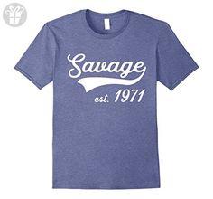Mens Born in 1971 - Savage Birthday T-Shirt Large Heather Blue - Birthday shirts (*Amazon Partner-Link)
