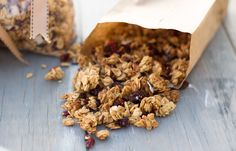 The best homemade granola recipe...I always switch up the nuts and add everything i have from almonds, flax seeds, pumpkin seeds, sunflower seeds, hazel nuts, pecans,cashews etc. I also added dates to mine and i put the toasted coconut in the oven to toast instead of after the granola is finished.